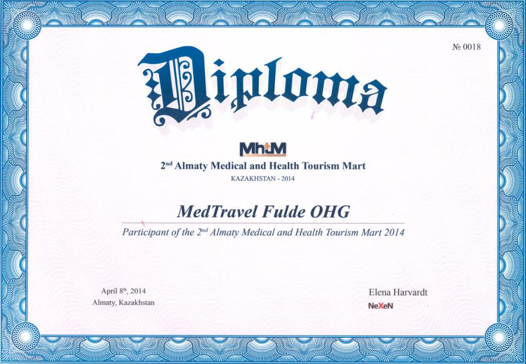 Сертификат об участии в выставке по медицинскому туризму